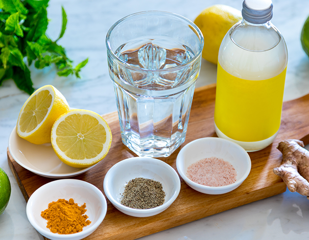 Detox ingredients on a plank - Detox Diets